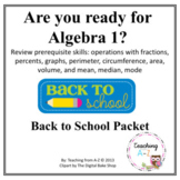 Algebra 1 Readiness Summer or Back to School Packet