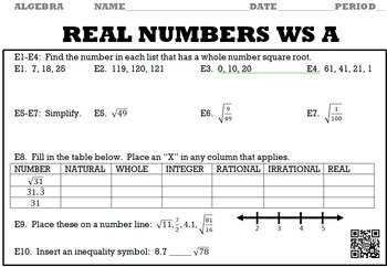 Algebra 1:  Real Numbers WS A and B with Keys/QR Codes
