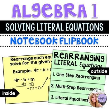 Algebra 1 - Rearranging Literal Equations - Foldable Flipbook
