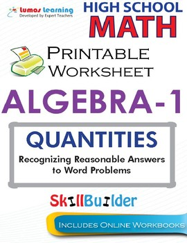 Algebra 1 Recognizing Reasonable Answers to Word Problems