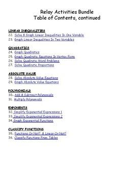 Algebra 1 Relay Activities Bundle