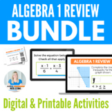 Algebra 1 Review Bundle - Task Cards and Activity for Google Drive