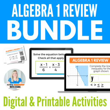 Algebra 1 Review Bundle - Boom Cards™, Task Cards and Activity for Google Drive