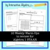 Algebra 1 STAAR Review Warm Ups - INCLUDES ANSWER KEY