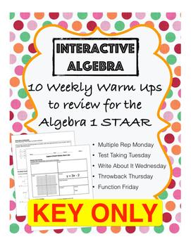 Algebra 1 STAAR Review Warm Ups - KEY ONLY
