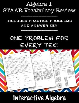 Algebra 1 STAAR Vocabulary Review with Practice Problems Worksheets
