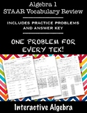 Algebra 1 STAAR Vocabulary Review with Practice Problems W
