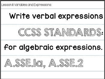 Algebra 1 - STANDARDS and OBJECTIVES for the Entire School Year Sentence Strips