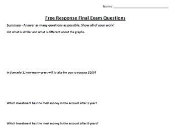 Algebra 1 Second Semester Free Response Final Exam
