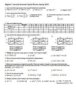 Algebra 1 Second Semester Quick Review Spring 2010 (Editable)