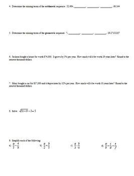 Algebra 1 Second Semester Quick Review Spring 2013 (Editable)
