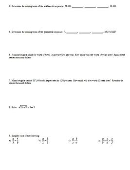 Algebra 1 Second Semester Quick Review Spring 2013 (Editable)