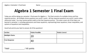Algebra 1 Semester 1 Curriculum and Bundled Lessons