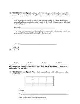 Algebra 1 Semester 1 Final Exam
