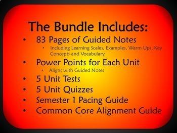 Algebra 1 Semester 1 Unit Plans (Bundled) - Aligned for Common Core
