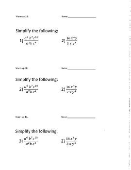 Algebra 1 Semester 2 Warm ups  1-36