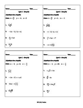 Algebra 1 - Short Exit Tickets / Quizzes - Solving Equations