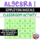 Algebra 1 - Simplifying Radicals - Puzzle Task Cards