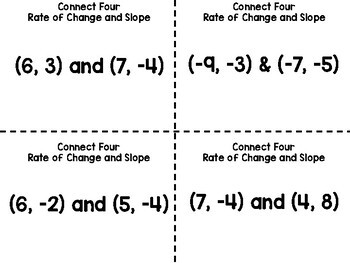 Algebra 1 - Slope and Rate of Change Task Card Game