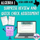 Algebra 1: Solve Equations Review and Assessment A.5A A.12