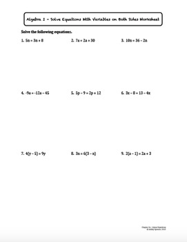 Solve Equations with Variables on Both Sides (Lesson Plan with Homework)