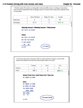 Problem Solving with Cost, Income, and Value (Lesson Plan with Homework)
