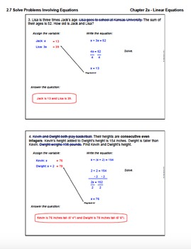 Problem Solving With Equations (Lesson Plan with Homework)