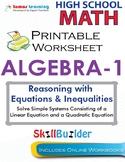 Algebra 1 Solve Simple Systems Consisting of a Linear & a Quadratic Equation