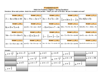 Algebra 1 Solving Equations