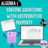 Algebra 1 Solving Equations Distribution Property Practice