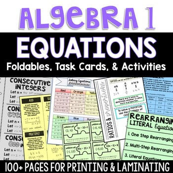 Algebra 1 - Solving Equations - Foldable, Task Card, Puzzle, and Game Bundle