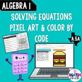 Algebra 1: Solving Equations Pixel Art & Color by Code A.5