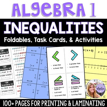 Algebra 1 - Solving Inequalities - Foldable, Task Card, Game BUNDLE