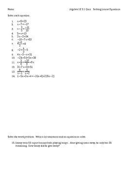 Algebra 1 Solving Linear Equations Quiz