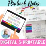 Algebra 1: Solving Quadratic Equations Digital Interactive Notes Flipbook