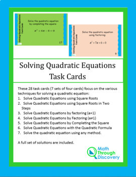 Algebra 1:  Solving Quadratic Equations Task Cards