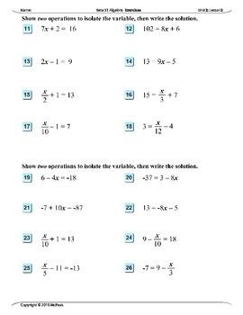 Algebra 1 (2.02): Solving Two-step Equations