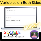 Algebra 1:  Solving with Variables on Both Sides Mini Form