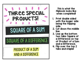 Algebra 1 - Special Products of Polynomials - Foldable FlipBook