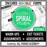 Algebra 1 Spiral EOC Review Assignments | Assessments + Go