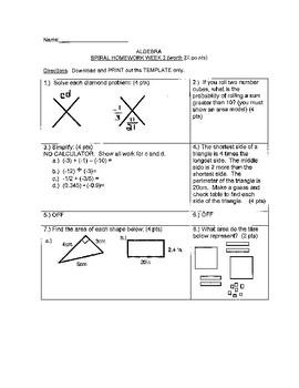 Algebra 1 Spiral Homework