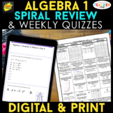 Algebra 1 Spiral Review & Quizzes | Digital & Print BUNDLE