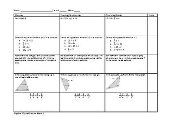 Algebra 1 Spiral Review Warm Ups - 12 weeks