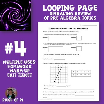 Algebra 1 Spiraling Page Review Homework #4 Many Uses