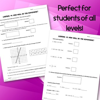 8th Grade Math Pre Algebra Spiraling Review BUNDLE Pages Homework Week 1
