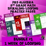 Algebra 1 Spiraling Review BUNDLE Pages Homework Week 1