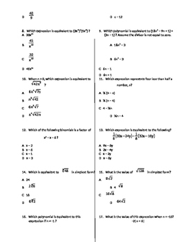 Algebra 1 State Test Review - Equations