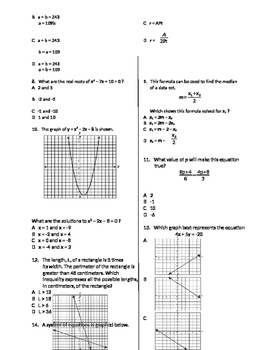 Algebra 1 State Test Review - Expressions and Operations