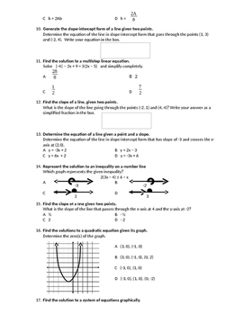 Algebra 1 State Test Review - Mock Test