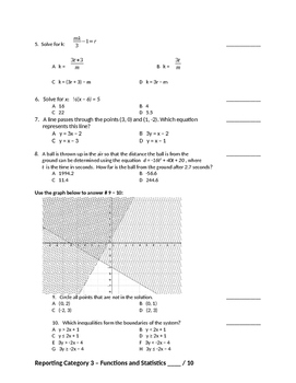 Algebra 1 State Test Review by Category